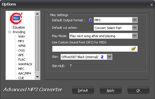 Настройка Misc в Advanced MP3 Converter