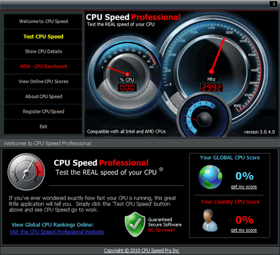Интерфейс CPU Speed Professional