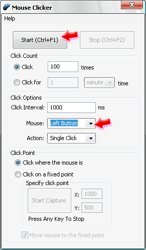 Настройки Mouse Clicker